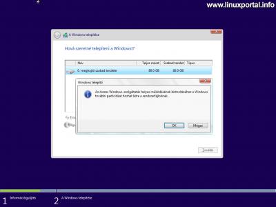 Windows telepítő - Lemez particionálása - Új partíció létrehozása - figyelmeztetés