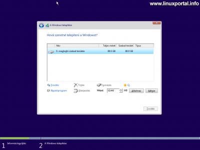 Windows telepítő - Lemez particionálása - Új partíció létrehozása