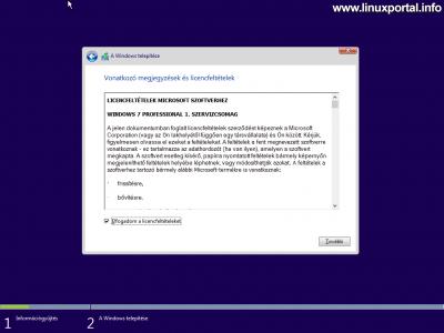 Windows telepítő - Licencfeltételek elfogadása