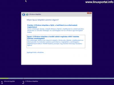 Windows telepítő - Telepítés módja