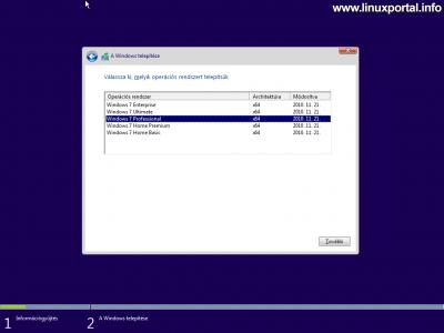 Windows telepítő - Telepítés típusának kiválasztása