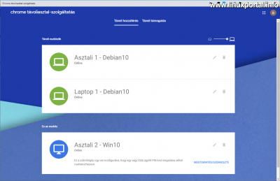 Chrome Remote Desktop - Indítás
