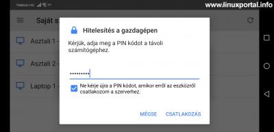 Chrome Remote Desktop Android - Csatlakozás - PIN kód megadása