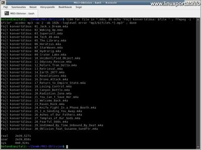 Zenefájlok kötegelt konvertálása m4a-ból mp3 formátumba az ffmpeg parancs ciklusban történő használatával