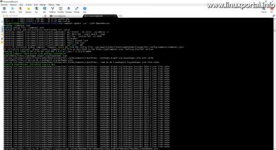 A composer update parancs a -vvv debug kapcsolóval