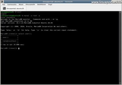 Installing Ubuntu 20.04 LTS (Focal Fossa) LAMP Server - Testing a database root user with a plain Linux user