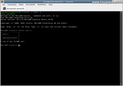 Ubuntu 20.04 LTS (Focal Fossa) LAMP Server Installation - Logging In with the Alternate Administration Database User