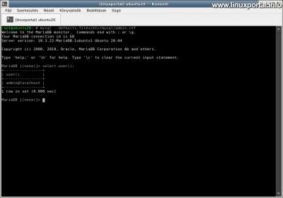 Ubuntu 20.04 LTS (Focal Fossa) LAMP Server Installation - Accessing the Database Server Using the Defaults File